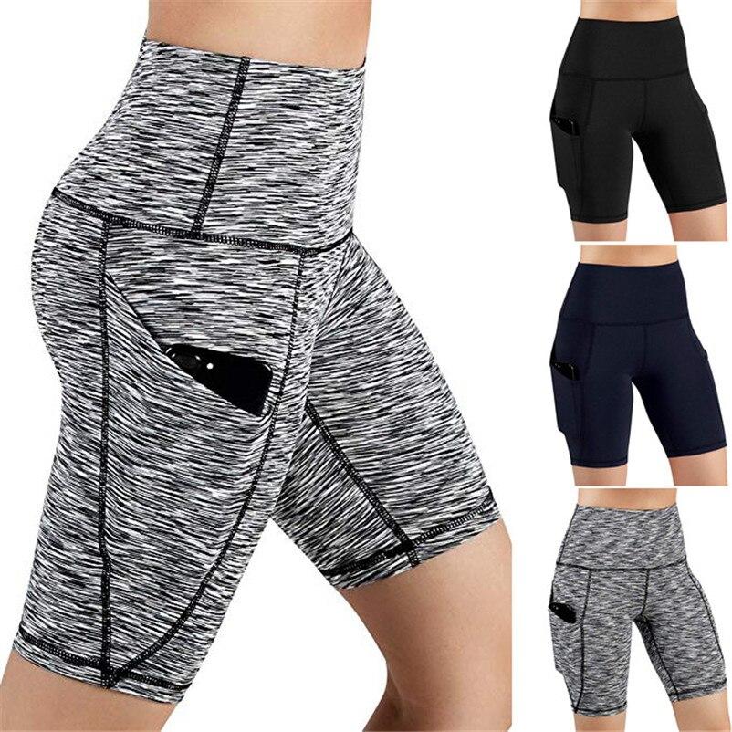 Women High Waist Out Pocket Yoga Short Running Athletic Yoga Shorts Pants